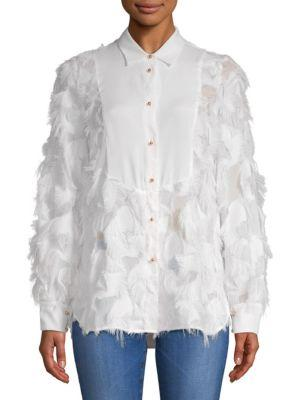 ChloÉ Fringed Long-sleeve Top In White Powder