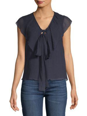See By ChloÉ Gauze Ruffled Sleeveless Cotton Top In Eclipse