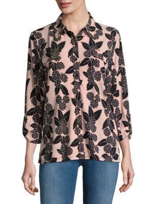 Karl Lagerfeld Printed Quarter-sleeve Blouse In Blush Black