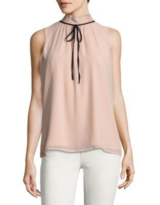 Karl Lagerfeld Tie Mock Neck Top In Blush