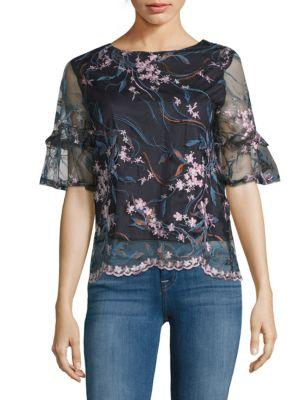 Nanette Lepore Embroidered Ruffle Top In Navy