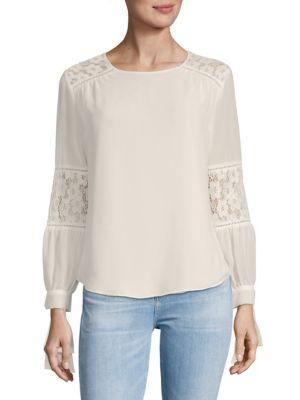 Nanette Lepore Lace-insert Long-sleeve Top In Marshmallow