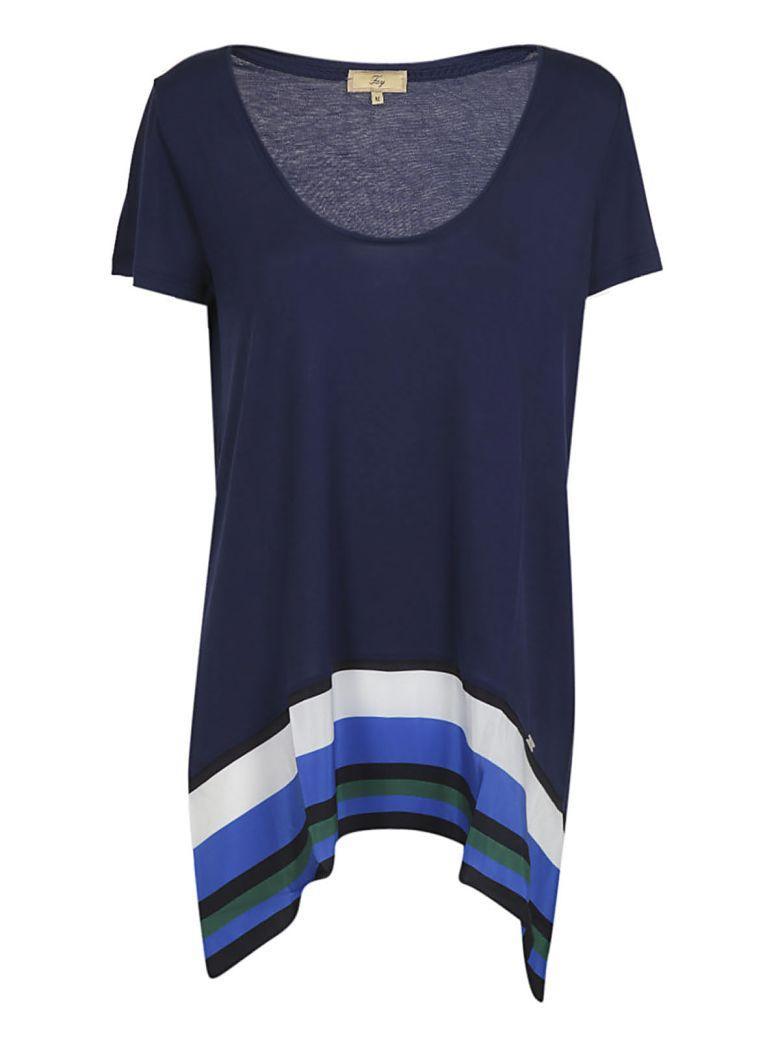 Fay Striped Hem T-shirt In Blue