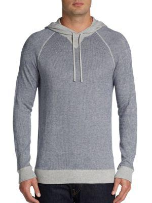 Vince Striped Pullover Hoodie In Blue