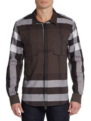 Nicholas K Dexter Block Checked Cotton Sportshirt In Granite Multi