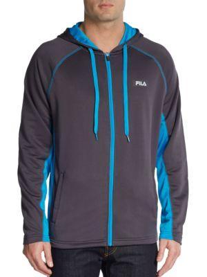 Fila Zip-front Hooded Jacket In Grey