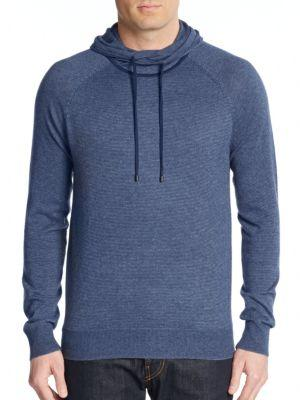Vince Striped Cotton & Cashmere Hoodie In Heather Baltic Blue