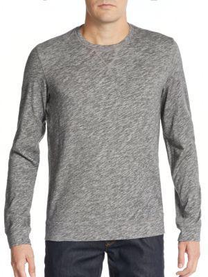 Vince Cotton Crewneck Sweatshirt In Heather Black