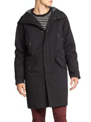 Marc By Marc Jacobs Hooded Parka In Orcha Black