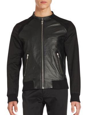 The Kooples Leather-panelled Long Sleeve Jacket In Black