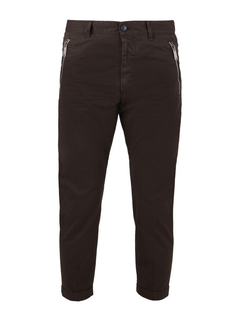 Dsquared2 Green Cropped Zip Trousers
