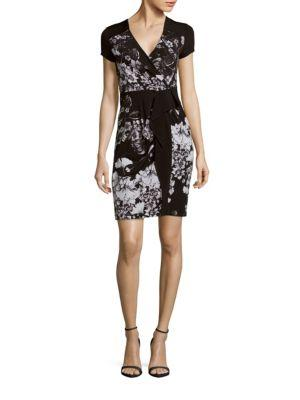 Bcbgmaxazria Laudy-knit Floral Dress In Black Combo