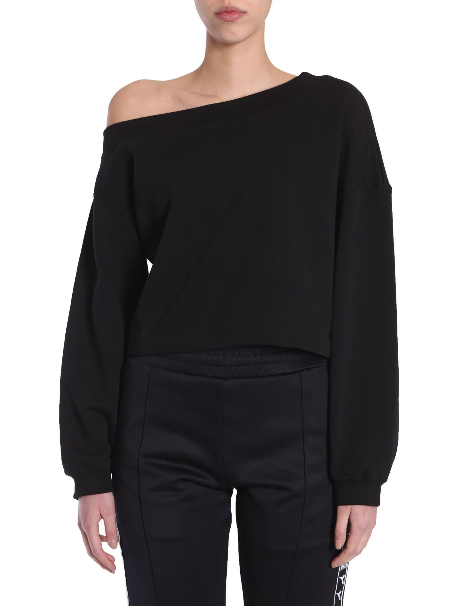 Msgm Cropped Sweatshirt In Nero