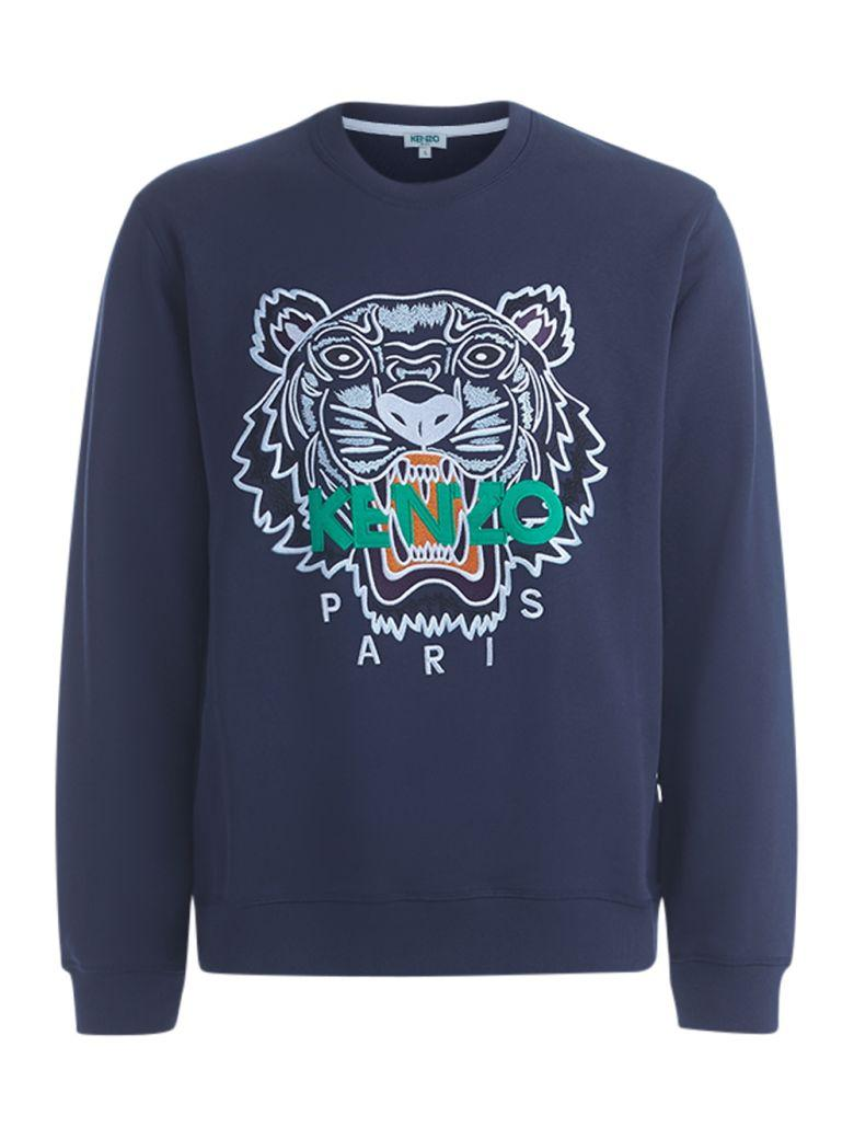 Kenzo Blue Ink Tiger Fleece With Emboidery