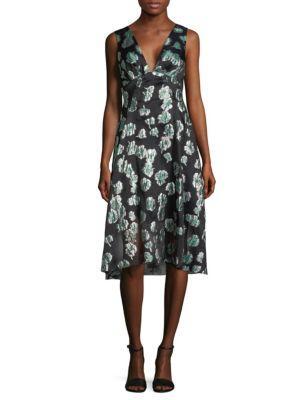 Lela Rose Printed Knee-length Dress In Green
