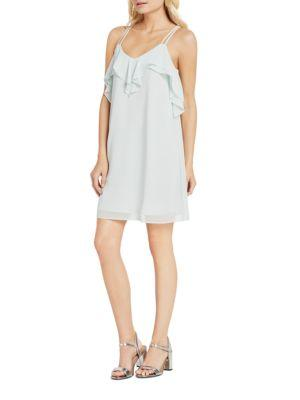 Bcbgmaxazria Solid Ruffled Dress In Frost Blue