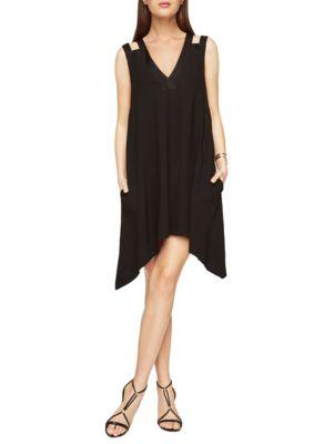 Bcbgmaxazria Asymmetrical Trapeze Dress In Black