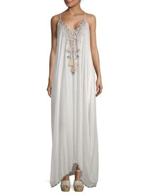 Saks Fifth Avenue Beaded Maxi Peasant Dress In White