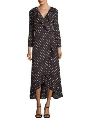Haute Rogue Polka-dot Wrap Maxi Dress In Black