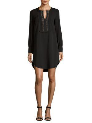 See By ChloÉ Embroidered Long-sleeve Dress In Black