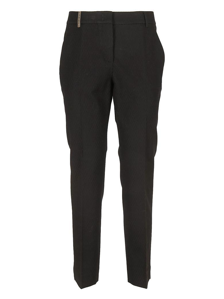 Peserico Piquet Cotton Trousers In Black