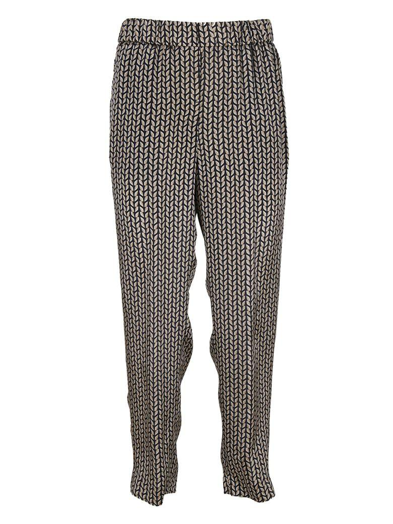 Peserico All Over Print Trousers In Blue