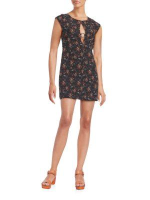 Free People Say Yes Floral Jacquard Mini Dress In Black Multicolor