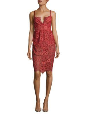 For Love & Lemons Gianna Midi Dress In Red