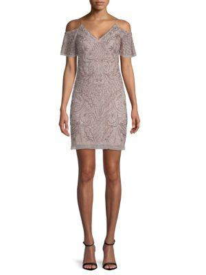 Aidan Mattox Embellished Cold-shoulder Dress In Pearl