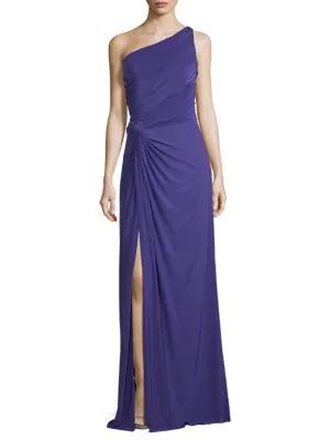 Rene Ruiz One-shoulder Jersey Draped Gown In Purple