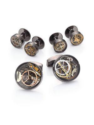 Tateossian Industrial Gear Cuff Link & Shirt Stud Set In Silver