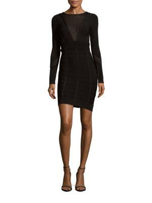 French Connection Duo Danni Knit Bandage Dress In Black