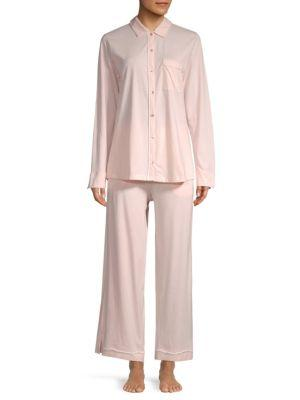 Skin Pima Wide-leg Cotton Pajamas In Pearl Pink