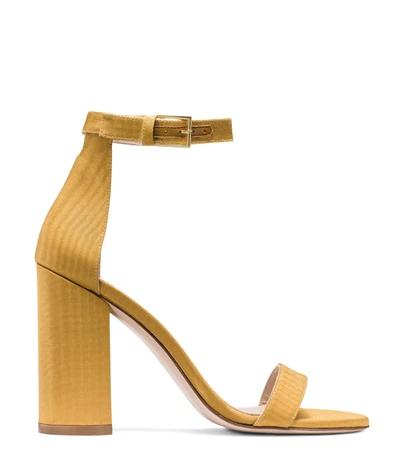 Stuart Weitzman Women's Lessnudist Grosgrain Ankle Strap Sandals In Ochre Woven Fabric