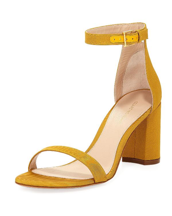 Stuart Weitzman Women's Lessnudist Grosgrain Ankle Strap Sandals In Ochre