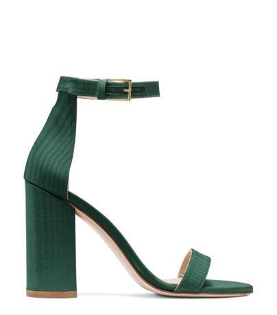 Stuart Weitzman The 75Lessnudist Sandal In Evergreen Woven Fabric