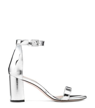 aa3ea163f Stuart Weitzman The 75Lessnudist Sandal In Silver Specchio Leather ...