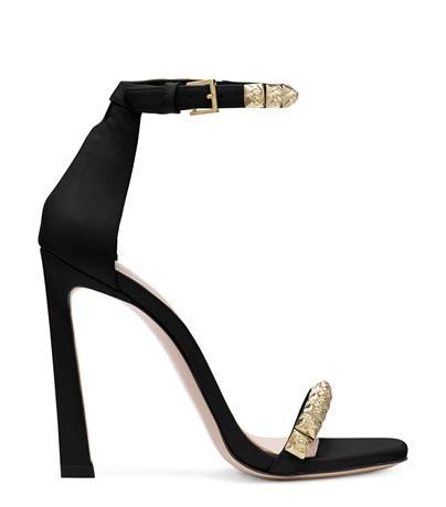 Stuart Weitzman The Rosist Sandal In Black High-shine Leather