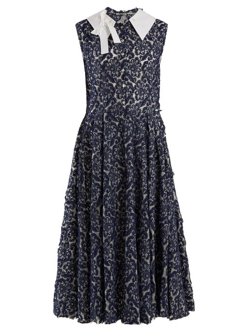 Miu Miu Contrast-collar Floral-lace Dress In Navy White