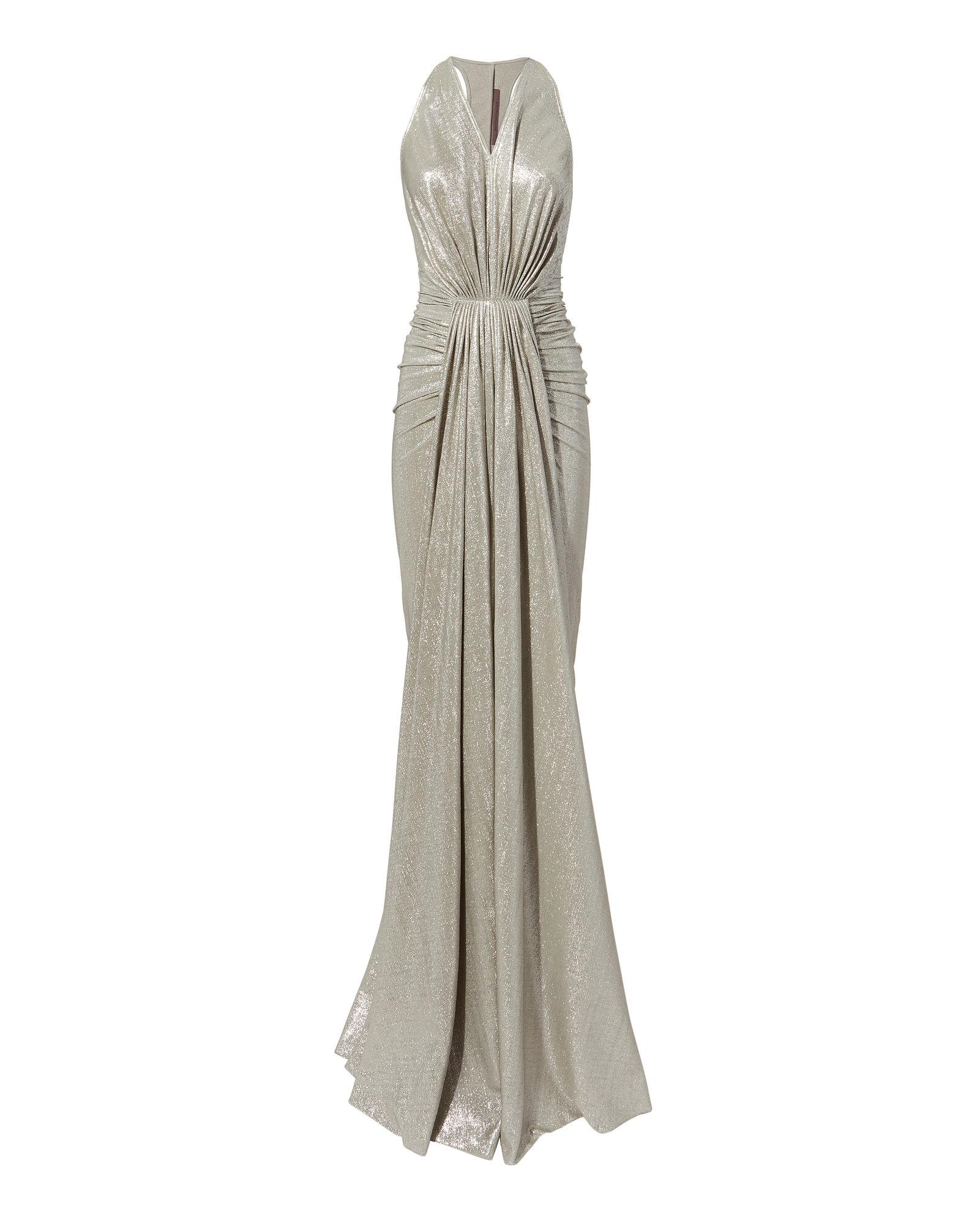 Rick Owens Ruched Metallic Gown