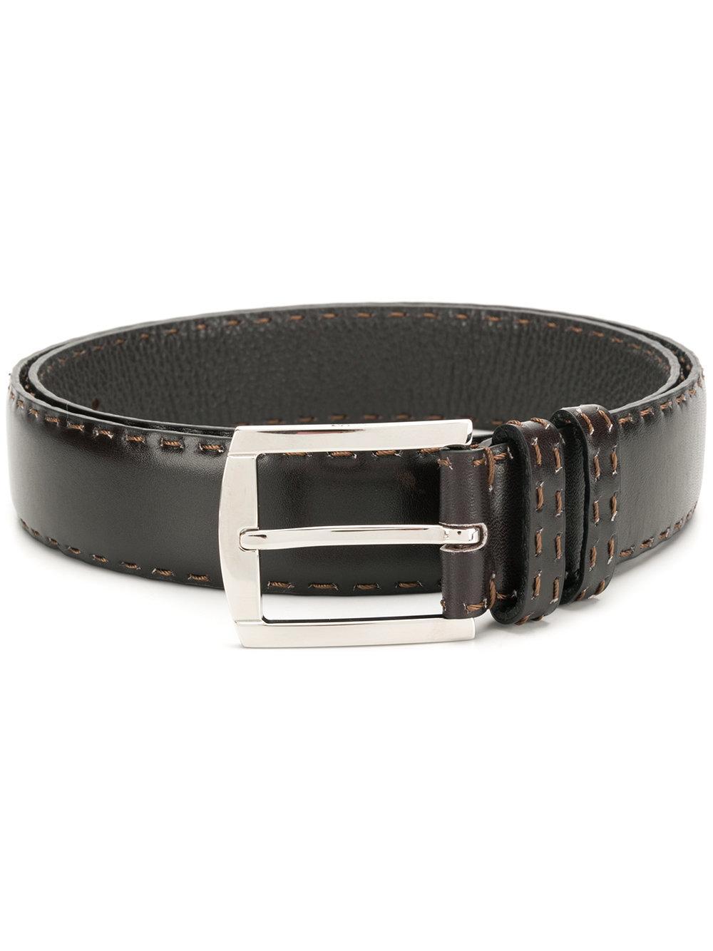 Kiton Stitch Detail Classic Belt - Brown