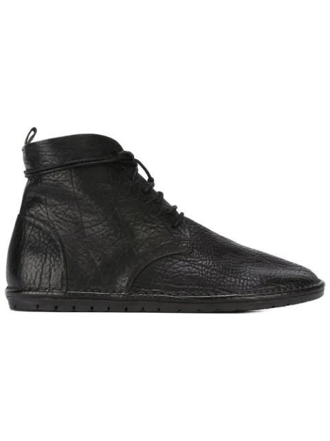 MarsÈll Textured Ankle Tie Boots - Black