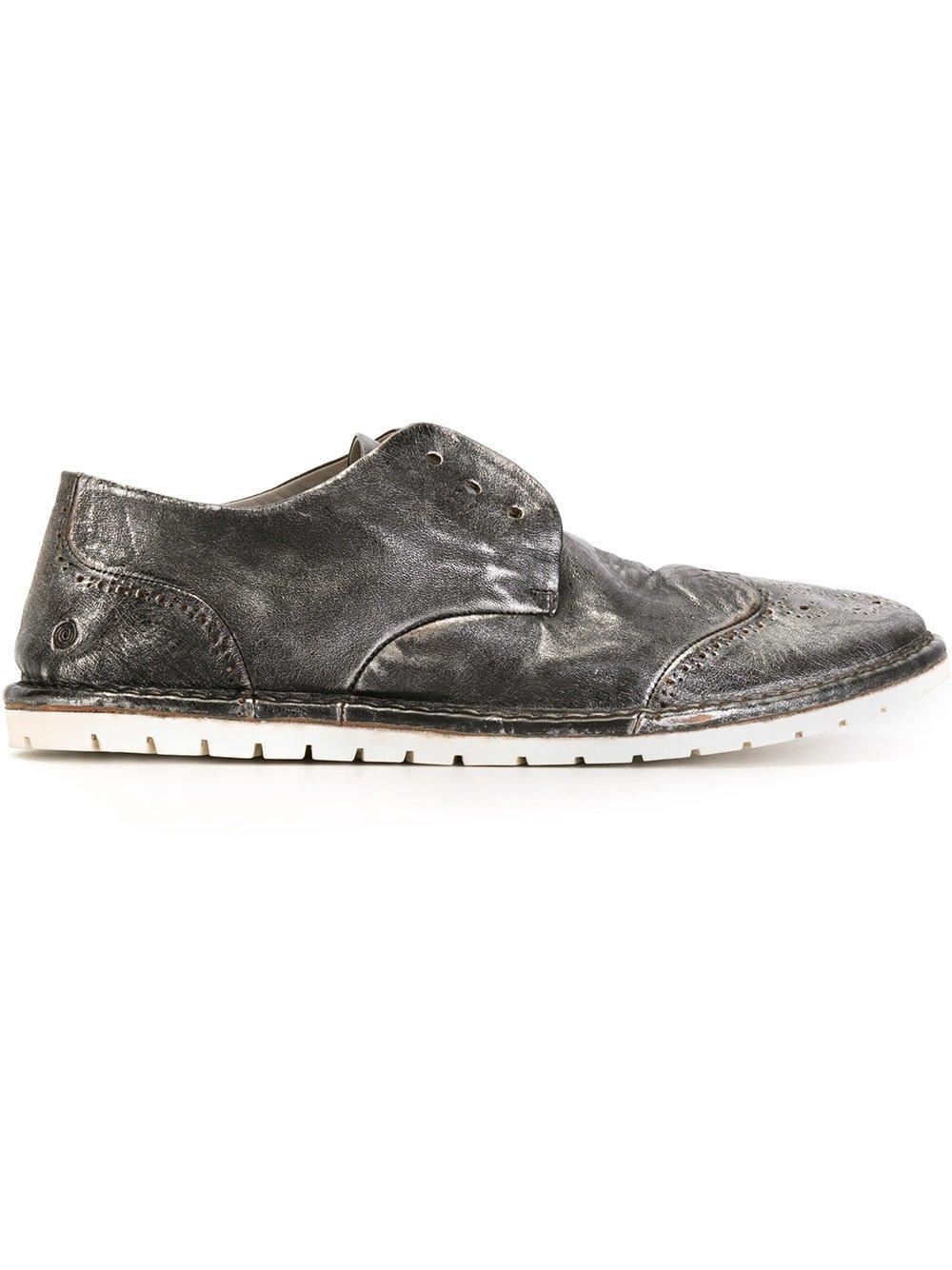 MarsÈll Brogue Detail Slip-on Loafers - Metallic