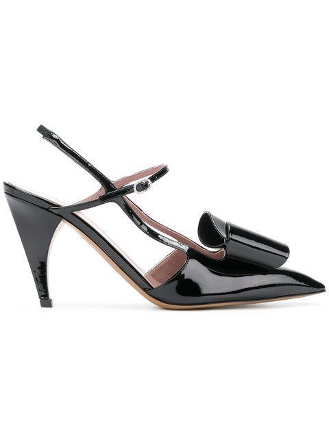 Rayne Pointed Bow Embellished Pumps - Black