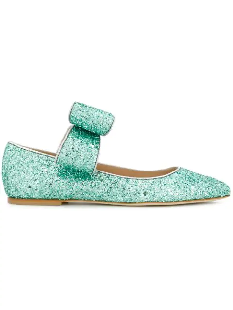 Polly Plume Bonnie Bow Ballerinas In Mint