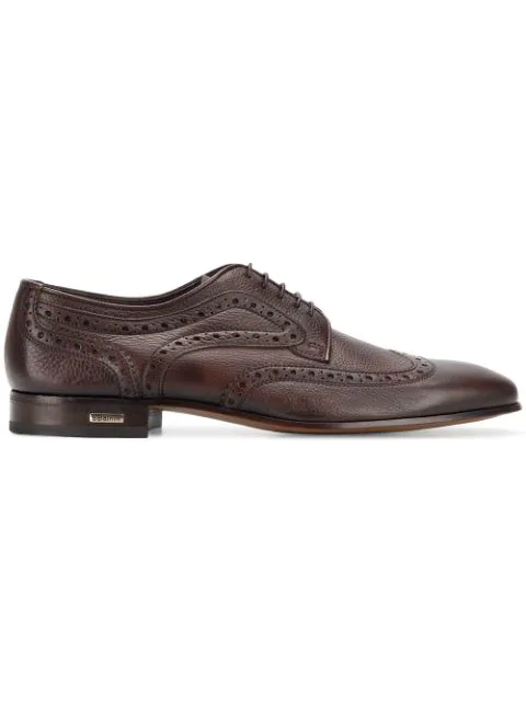 Baldinini Embroidered Derby Shoes In Brown