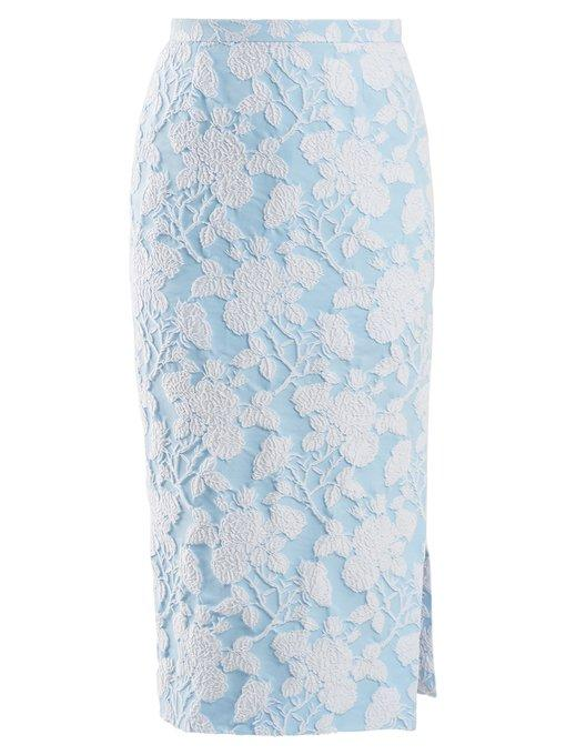 Rochas Floral Jacquard Pencil Skirt In Blue White