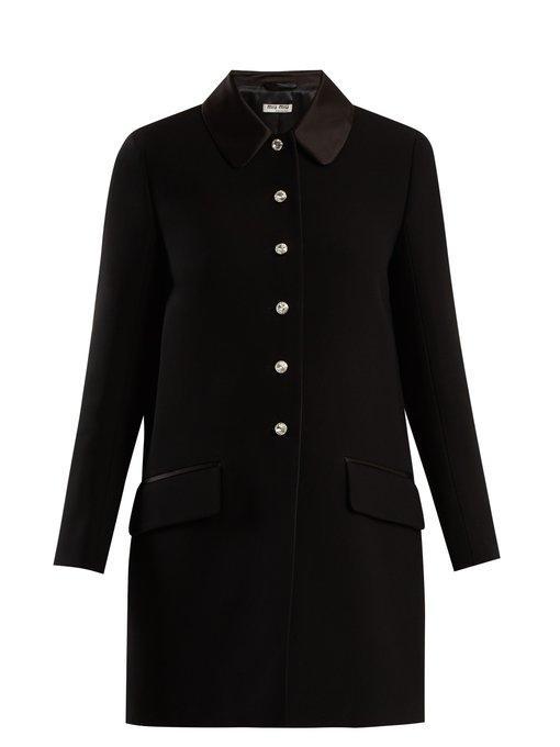 Miu Miu Crystal-embellished Cady Coat In Black