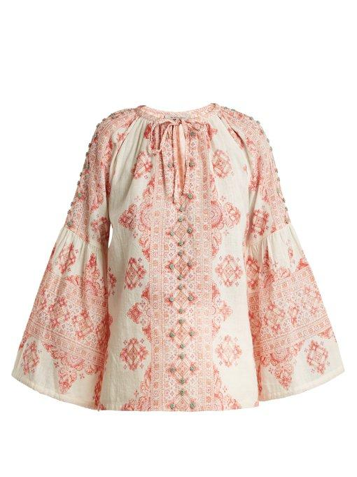 D'ascoli Viscaya Floral-print Cotton Top In Pink Multi