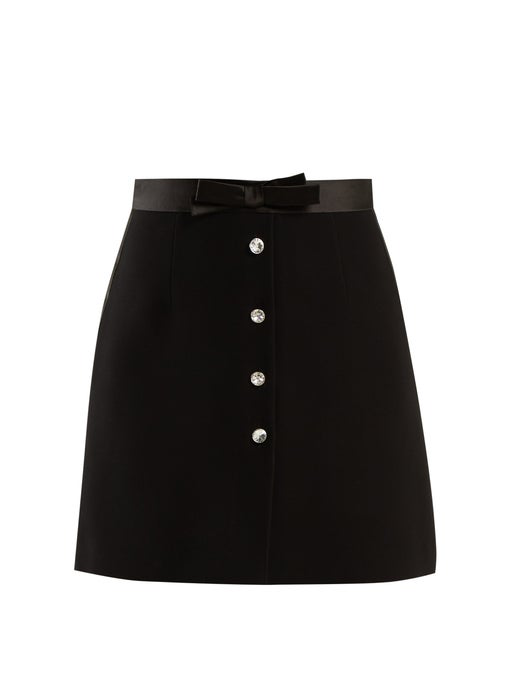 Miu Miu Clear Crystal-embellished Cady Skirt In Black